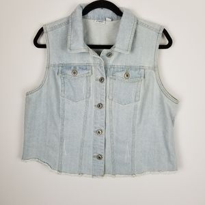 Cato size Large blue jean denim vest distressed